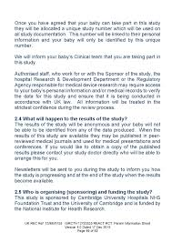 Personal Information Sheets React Rct Parent Information Sheet Department Of Paediatrics