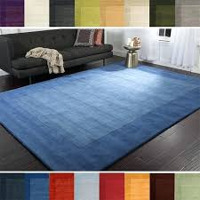 5x8 blue area rugs hand loomed solid bordered tone on tone wool area rug 5 home