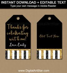 Birthday Tags Template Birthday Glitter Tags Black Gold Party Favor Tags 50th Birthday