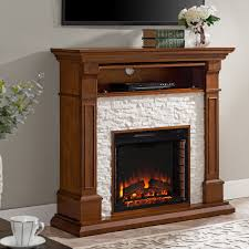 copper grove eisenstadt faux stone media electric fireplace