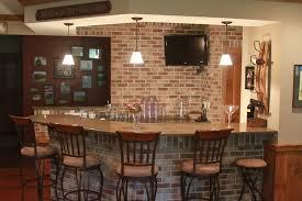 basement bar stone. Basement Bar With Pendant Lighting, Quartz Countertops And Stone Wall - Anthony Thomas Builders
