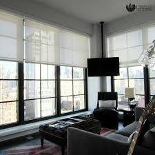 Bedroom automated shades modern-home-theater
