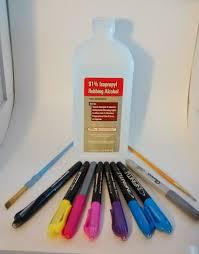 permanent markers black dark blue light blue dark purple light purple pink yellow and silver 91 isopropyl alcohol