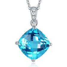 details about 14k white gold 4 ct cushion swiss blue topaz pendant necklace 0 03 ct diamond