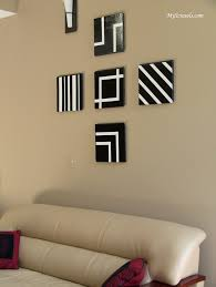 Alluring Wall Decorating Ideas In Black And White Color In Square Shape  Design Above Charming Sofa