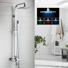 details about led bathroom 8 10 12 16 rainfall tub shower faucet set mixer tap with hand spray