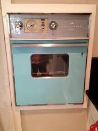 mid century turquoise wall oven too