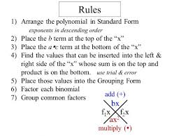 algebra worksheet section 10 5 factoring polynomials the form