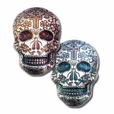 2 oz silver sugar skull monarch 3d poured bar day of the dead