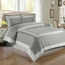 com hotel gray and light gray 3 piece full queen comforter cover duvet cover set 100 percent cotton 300 thread count home kitchen