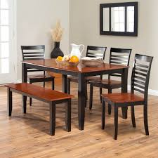 simple two toned dining set with bench the seats and table top are cherry