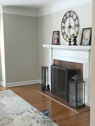 benjamin moore edgecomb gray red brick fireplace white mantel greige paint colour