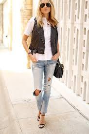 fashion jackson black faux leather moto vest white