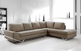 Contemporary Sectional Sofa in Latte Leather Modern Living Room