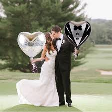 <b>2PCS Heart Foil Balloons</b> Marriage Groom Bride Tuxedo Dress ...