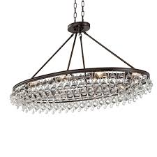 8 light vibrant bronze eclectic chandelier dd in clear glass drops 279 vz elite fixtures