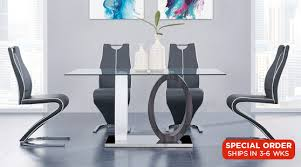 this dining room set is posed of a dining table chairs with durable construction and superior quality its artistic design and geometric style this
