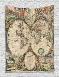 antique world map pattern tapestry wall hanging living room bedroom dorm decor com