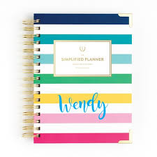 Academic Daily Planner Emily Ley Academic Daily Happy Stripe Simplified Planner August