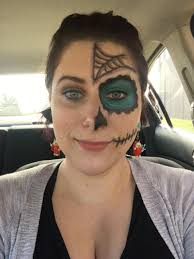 my half sugar skull makeup i wore to work today