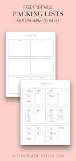 Packing For Vacation Lists Free Printable Packing List For Organized Travel And Vacation