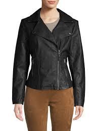 max studio women s black classic faux leather jacket