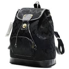 Coach Classic In Signature Medium Black Backpacks CBJ