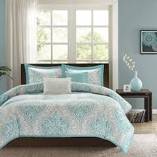 twin  twin xl comforter set in light blue white grey damask