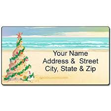 Christmas Tree Labels Beach Christmas Address Label Beach Tree Customized Return Address Label 90 Labels