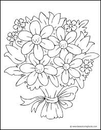 Bouquet Of Flowers Coloring Page Flower Pic Flower Coloring