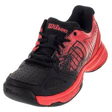 Wilson Juniors Kaos Comp Tennis Shoes Radiant Red And Black