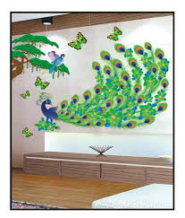 Small Picture PINDIA Multicolour 3D Peacock Butterflies Design Wall Sticker
