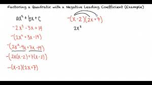 example factoring a quadratic with a negative leading coefficient