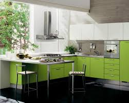 contemporary green kitchen cabinet