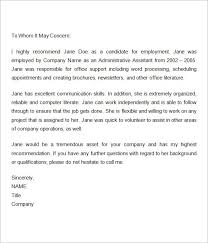 Employment Recommendation Letter For Previous Employee Reference