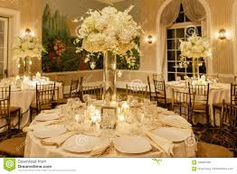 Reception Table Set Up Wedding Centerpiece Table Set For Reception Stock Photo