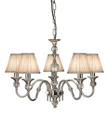 63580 polina nickel 5 arm ceiling light with shades