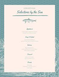 Teal Cream Sea Creature Seafood Food And Drinks Menu Templates By