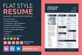 Resume Design Adorable Flat Style Resume Resume Templates Creative Market