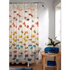 clear shower curtain with design. embossed new school fish peva shower curtain clear with design bed bath \u0026 beyond