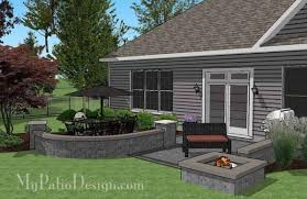 simple patio designs with fire pit. Beautiful Pit Simple Outdoor Patio Design With Seat Walls And Fire Pit  Download Plan U2013  MyPatioDesigncom In Designs With