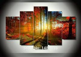 five panel wall art forest shining forest and sunset sunlight autumn red woods five piece panel five panel wall art