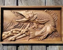 pike carved fish wood carving nautical hanging home decor woodwork housewarming fisher gift fishing nature rustic room wall decor wall art on wood carved fish wall art with wood carving art etsy