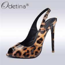 Odetina New Summer <b>Sexy</b> Leopard Women <b>Pumps Slingback</b> ...