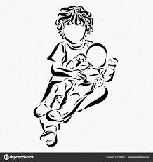 Krullend Kind Houdt Een Pasgeboren Baby Stockfoto