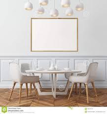 Esszimmer Der Weißen Wand Weiße Stühle Stock Abbildung