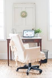 megan s office makeover desk chair slipcover miss mustard seed