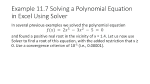 solve quadratic equation excel excel equation solver example solving a polynomial equation in excel using solver