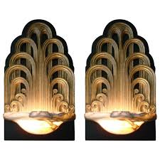 pair of art deco fountain sconces wall lights theater lamps circa 1930 1