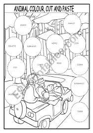 Colours online worksheet for grade 1. Animal Colour Cut And Paste Esl Worksheet By Martinasvabova